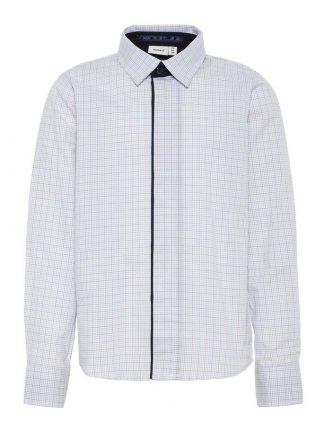 Name It hvit rutete skjorte med gule striper
