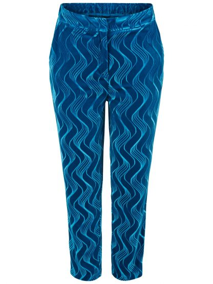 Turkis bukse i velur – Y.A.S turkisblå bukse i velur Yascirira – Mio Trend