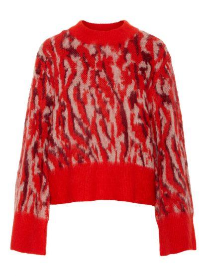 rød strikkegenser med mønster – Y.A.S rød genser med mønster – Mio Trend