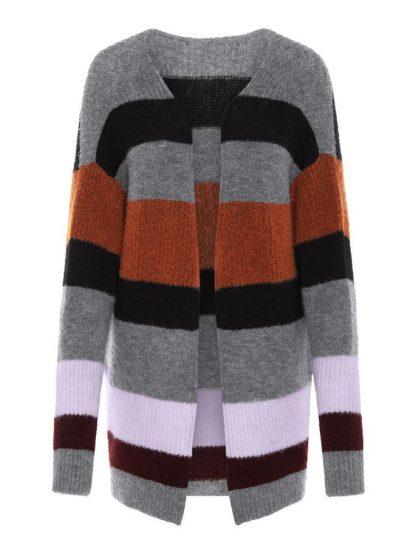 Strikkejakke med striper – Y.A.S strikkejakke med striper – Mio Trend
