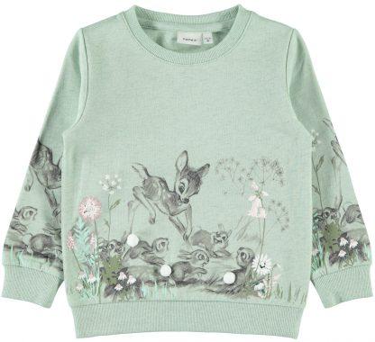 Name It Bambi genser, grønn – Name It mintgrønn genser med Bambi – Mio Trend