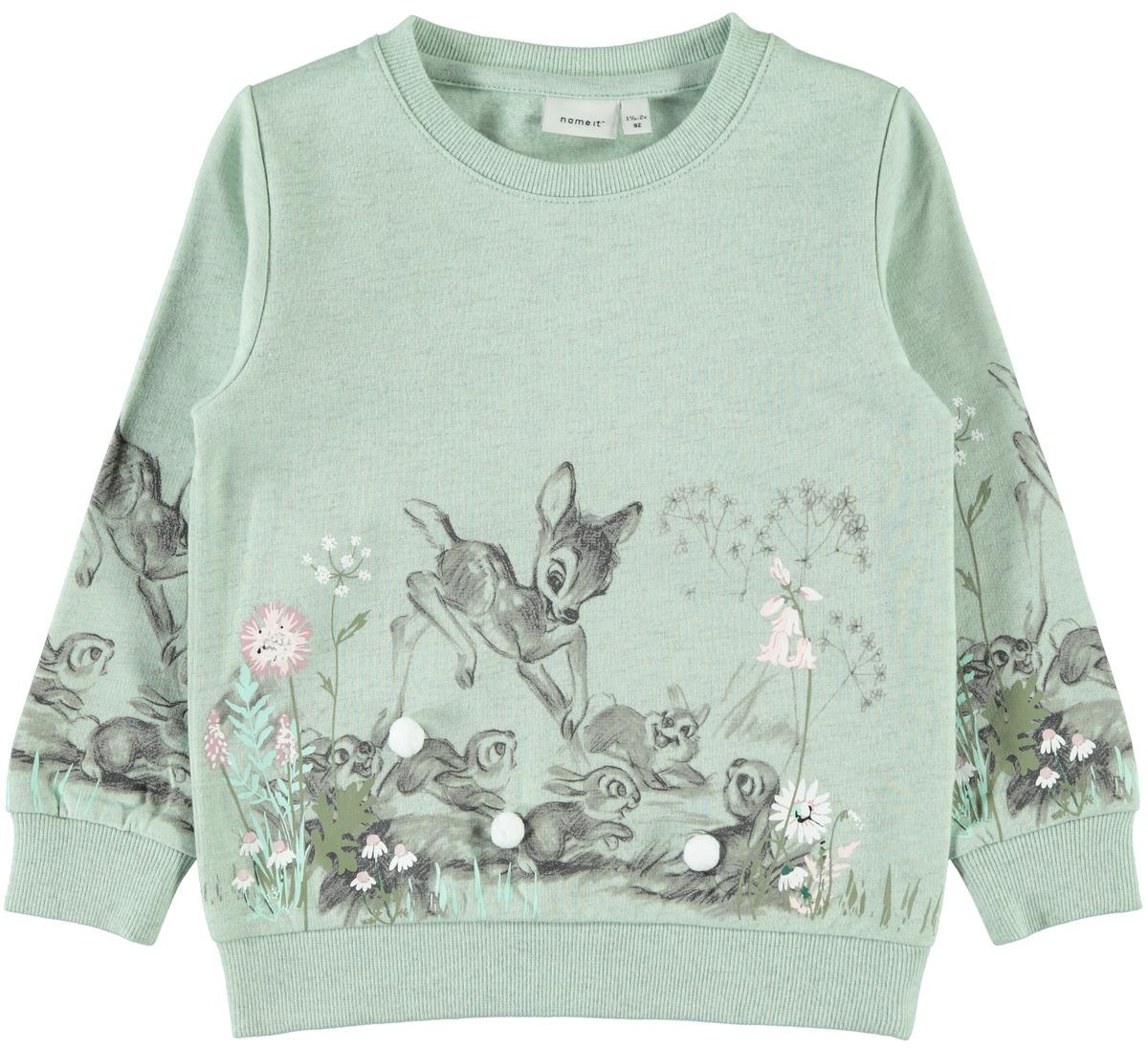 381a1671 Name It Bambi genser, grønn – Name It mintgrønn genser med Bambi – Mio Trend