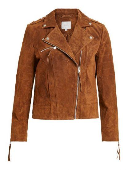 Semsket skinnjakke – Vila brun semsket skinnjakke – Mio Trend