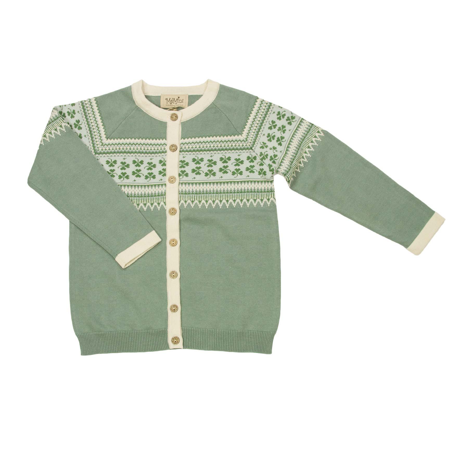 da2485f8 Memini grønn jakke. Grønn strikkejakke fra Me Mini. Memini barneklær.