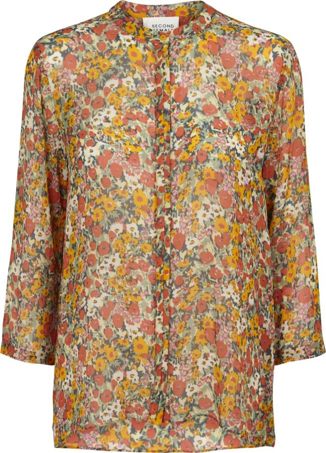 57093606 Second Female orange bluse – Second Female oransje bluse med blomster Bloom  – Mio Trend