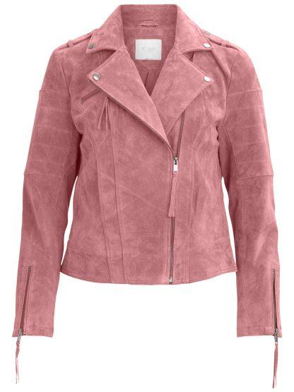 Rosa skinnjakke Vila – Vila rosa aprikos skinnjakke – Mio Trend