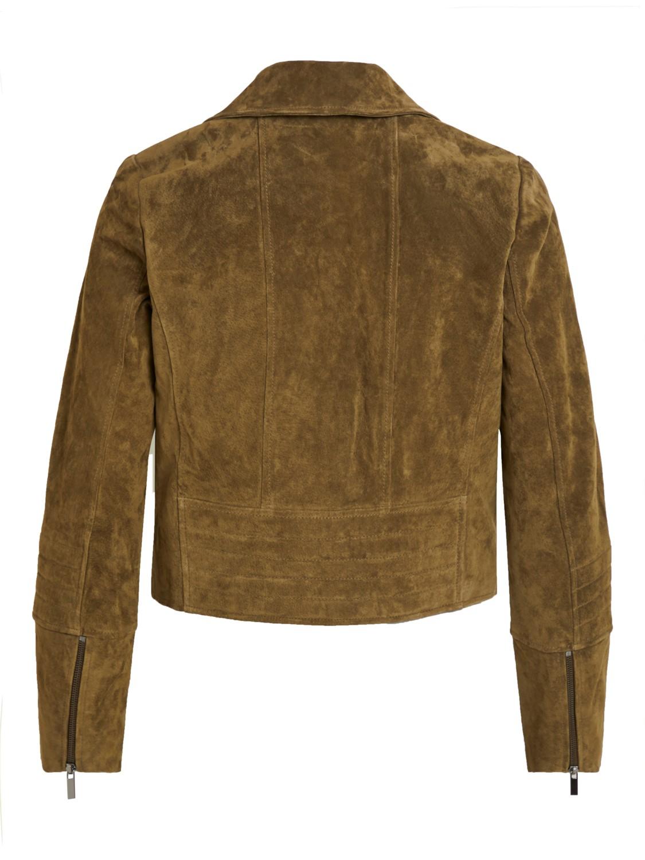 2349994f Vila grønn skinnjakke. Semsket skinnjakke fra Vila. Grønn jakke i skinn.