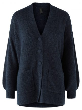 Marineblå strikkejakke YAS