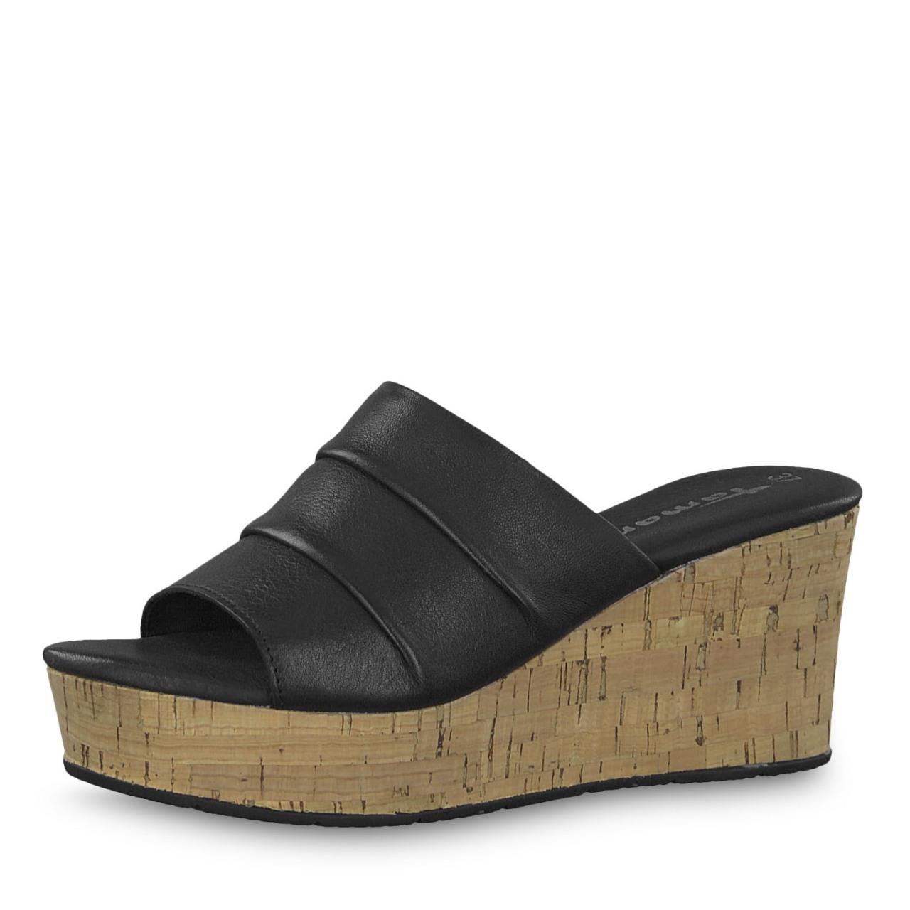 2296479a Sandal med kilehel fra Tamaris. Sort sandal, sko og sandaler fra Tamaris