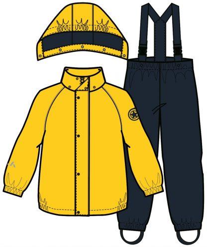 Regntøy til barn – Regntøy regnsett gult og blått  – Mio Trend