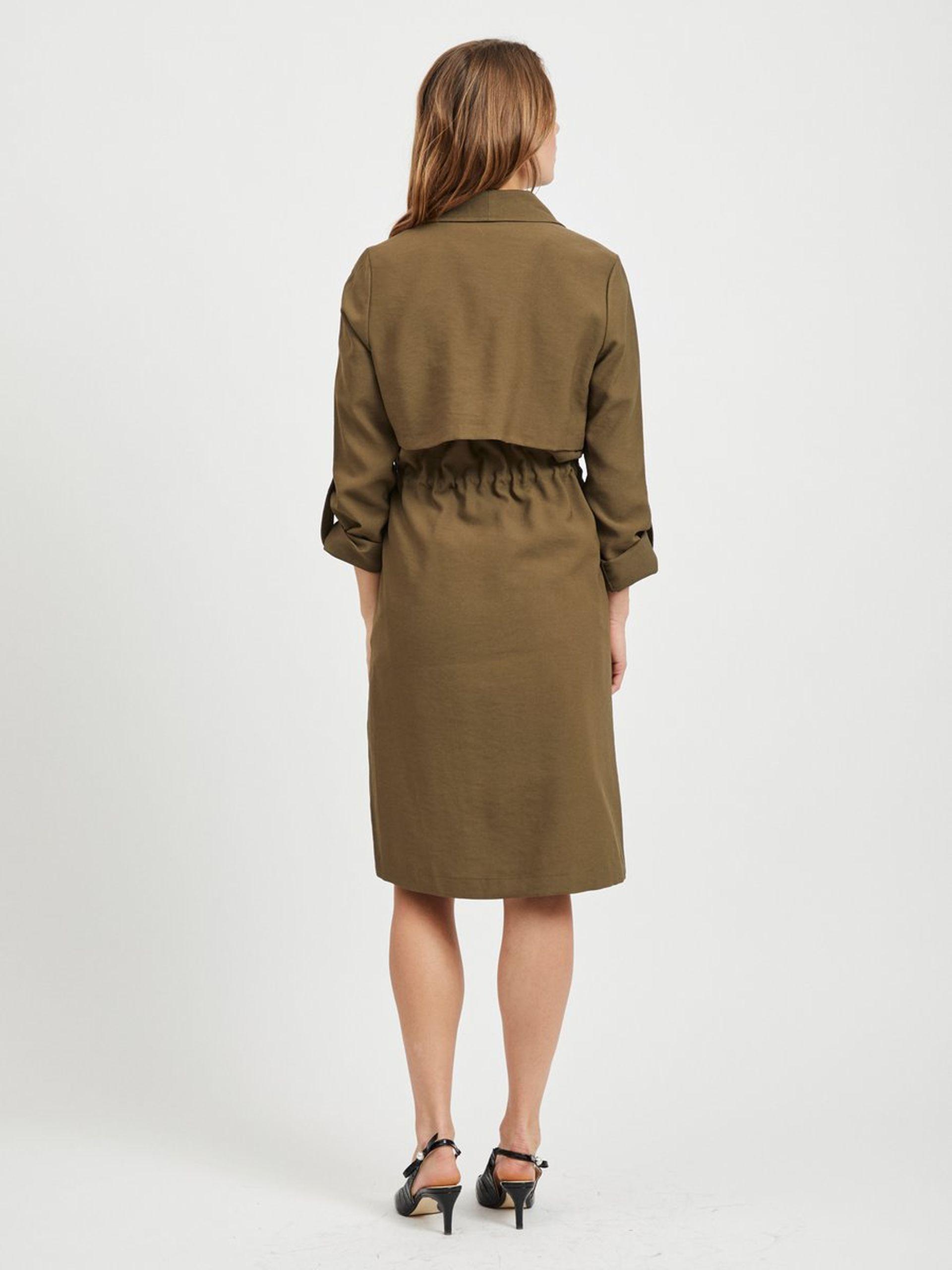 e63c110d Vila vårjakke grønn lang jakke. Kåpe jakke i olivengrønn farge ...