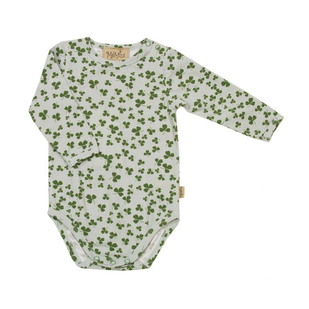e95a8684 Memini grønn body med kløverblomster. Body fra Memini. Me mini klær.