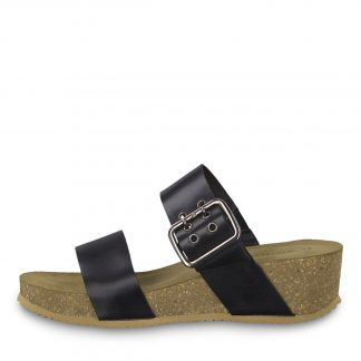 Tamaris sandal sort skinn