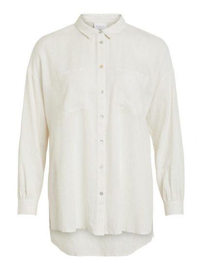 off white skjorte i lin og viskose MioTrend