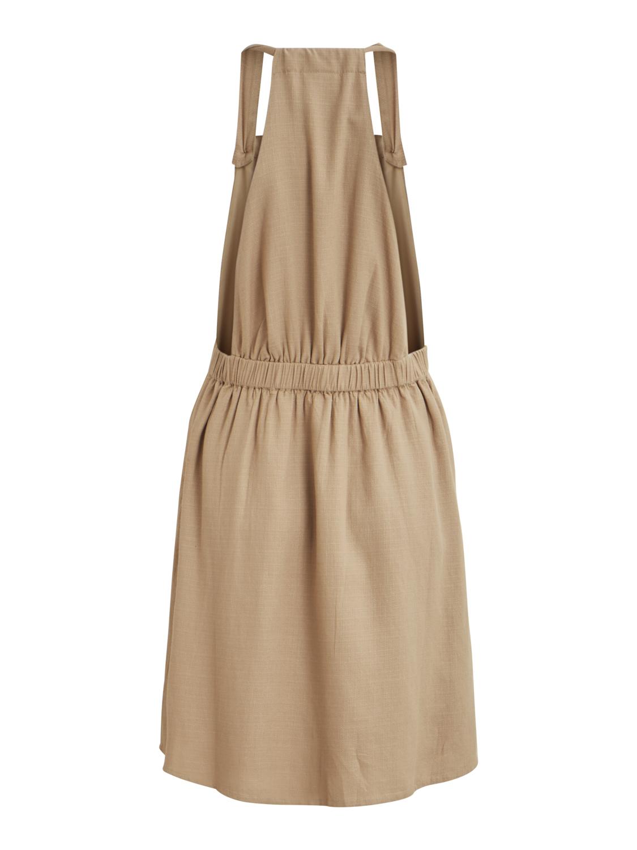 825bc66d Beige kjole Vila, kjole med seler, selekjole fra Vila. Kort kjole ...