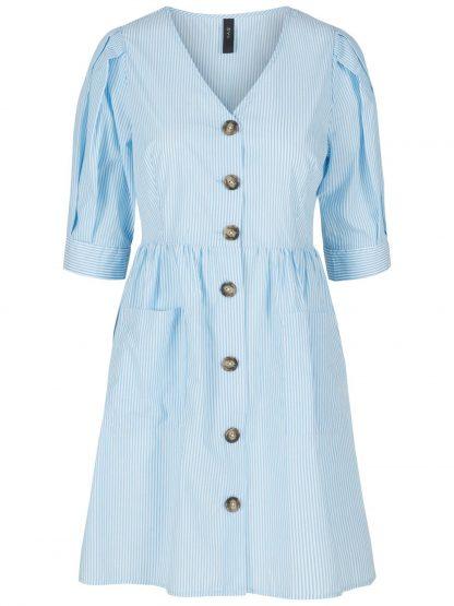 Kjole med puffarmer – Y.A.S stripetet kjole med lommer – Mio Trend