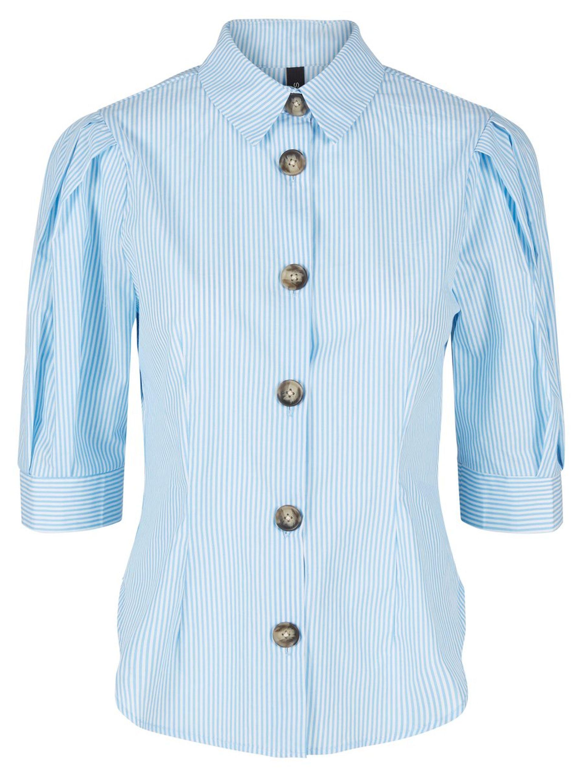ee4d53f9 Bluse med puffarmer, bluse med hvite og blå striper, bluse med korte ...