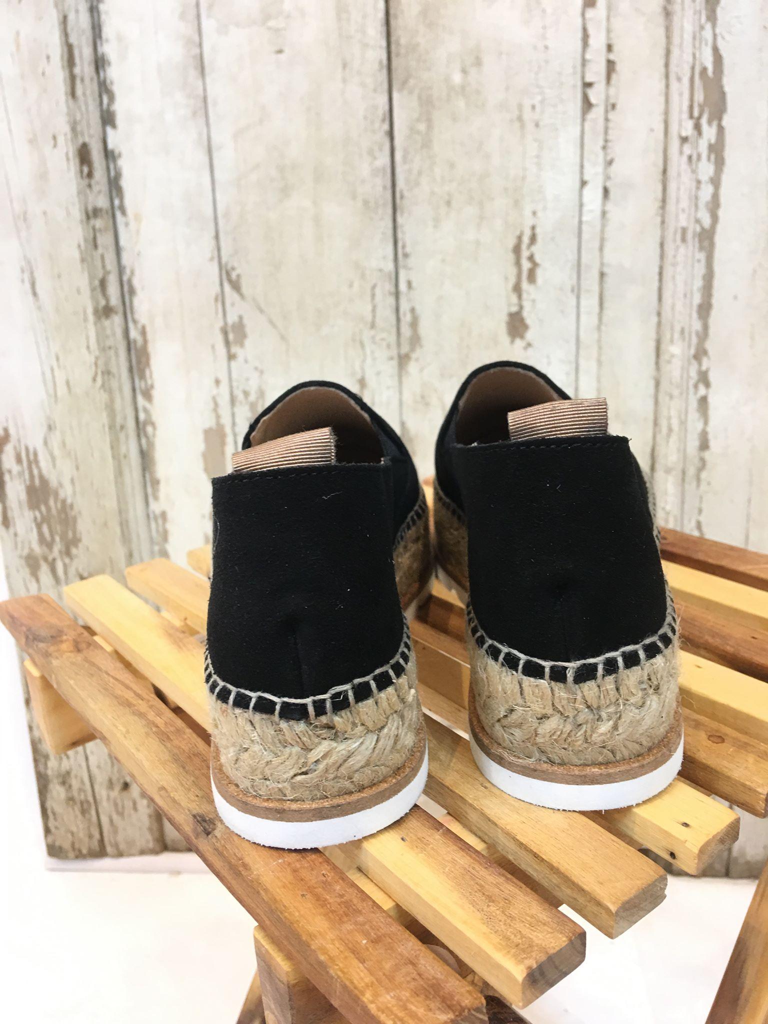 sko espadrillos sort og sølv