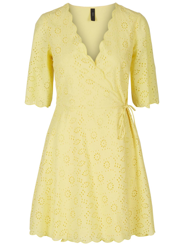aadc7662 Gul kjole, gul sommerkjole fra Yas. Kort gul kjole med blonder. Y.A.S.