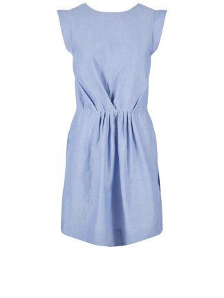 8e9b44b53885 blå kjole med knyting