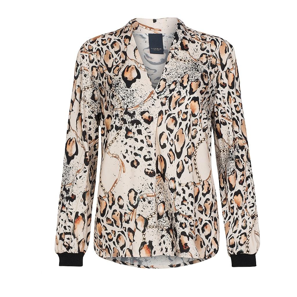 47b2bb97 Bluse leopardmønster, bluse fra One Two Luxzuz. Beige bluse med v-hals.