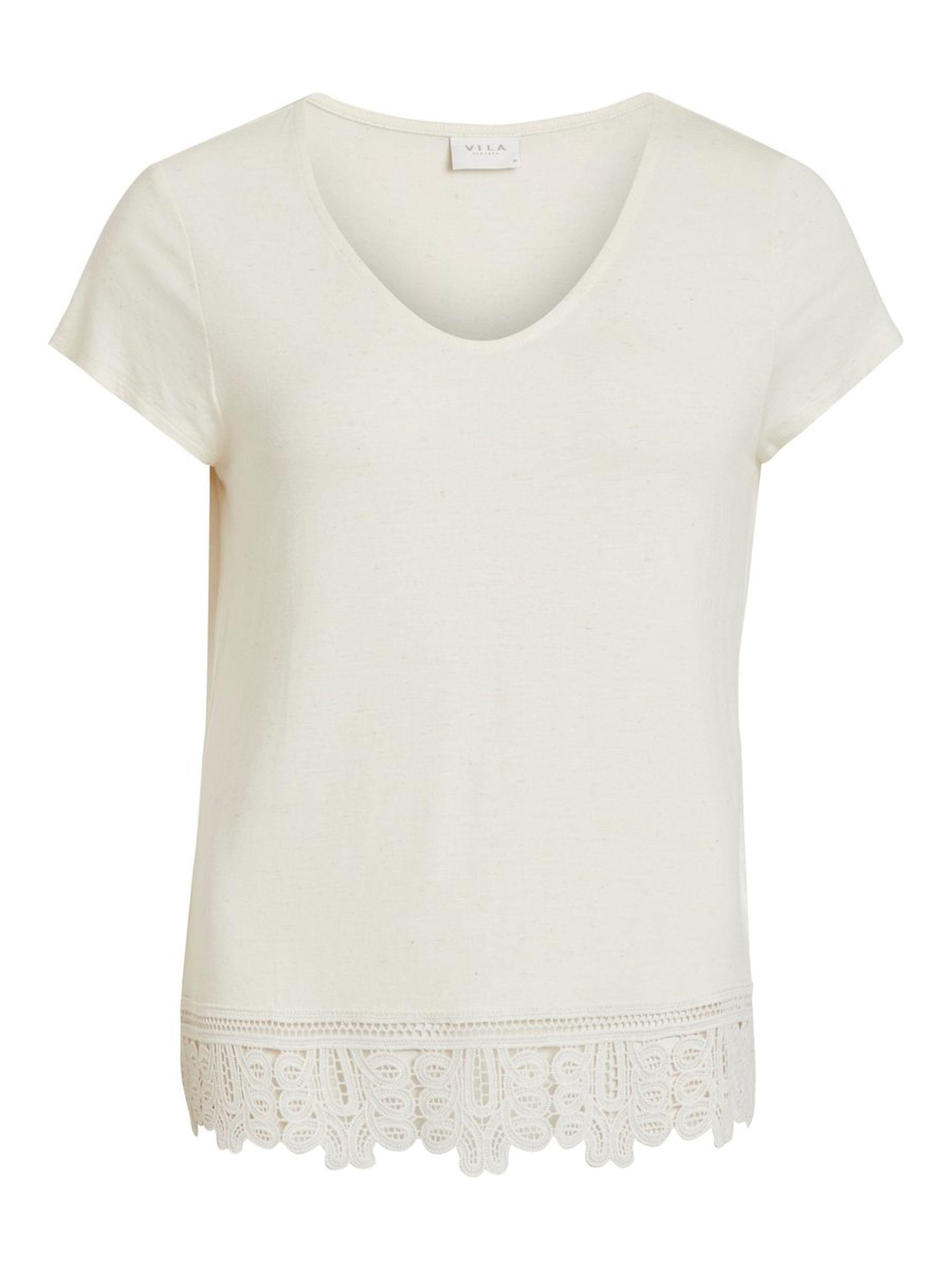 4e09abe8 Vila topp med blonder. Off white t-skjorte med blondekant. T-skjorte ...