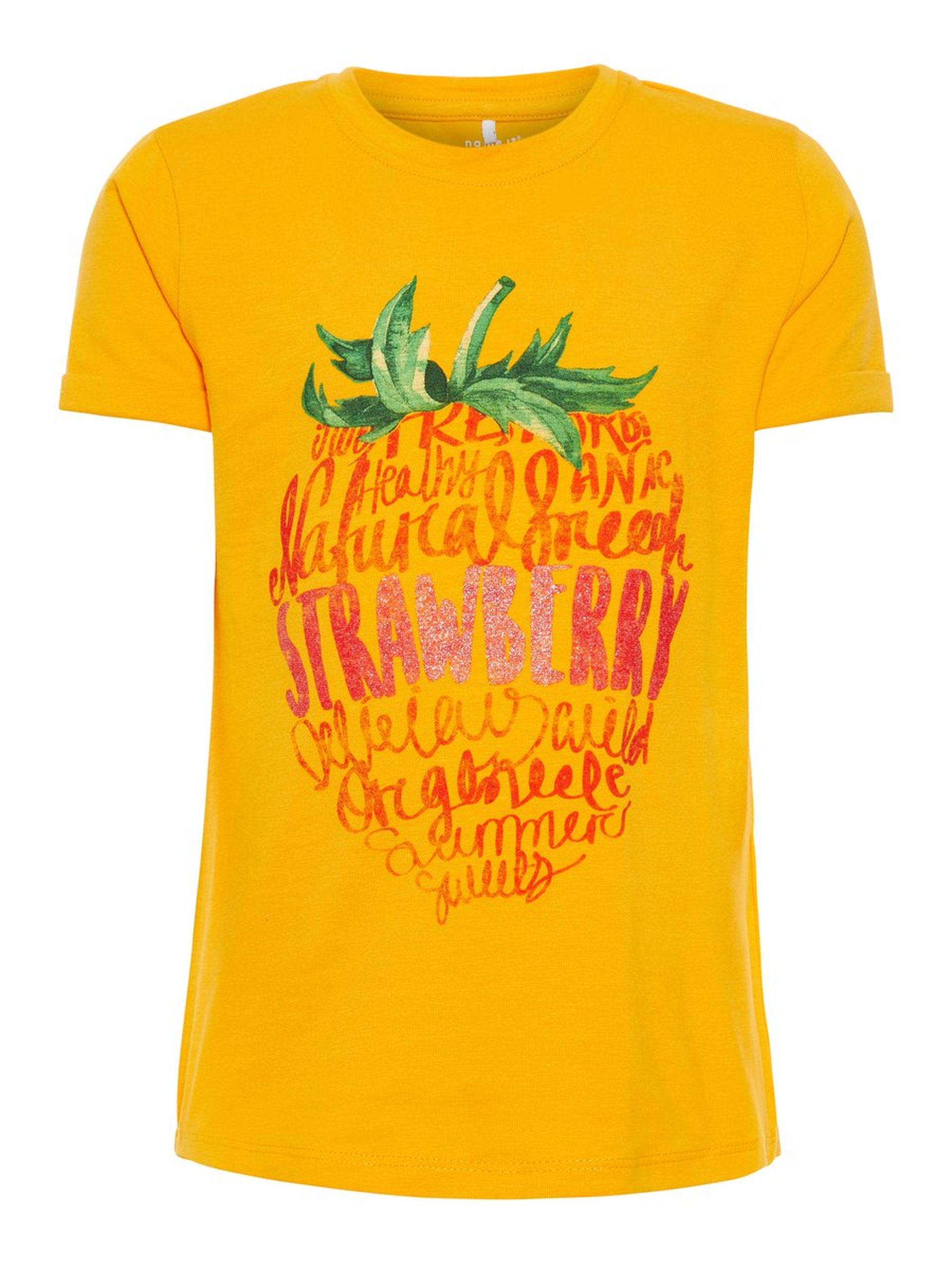 837f7a4b T-skjorte fra Name It. T-skjorte til jente. Gul t-skjorte til barn ...