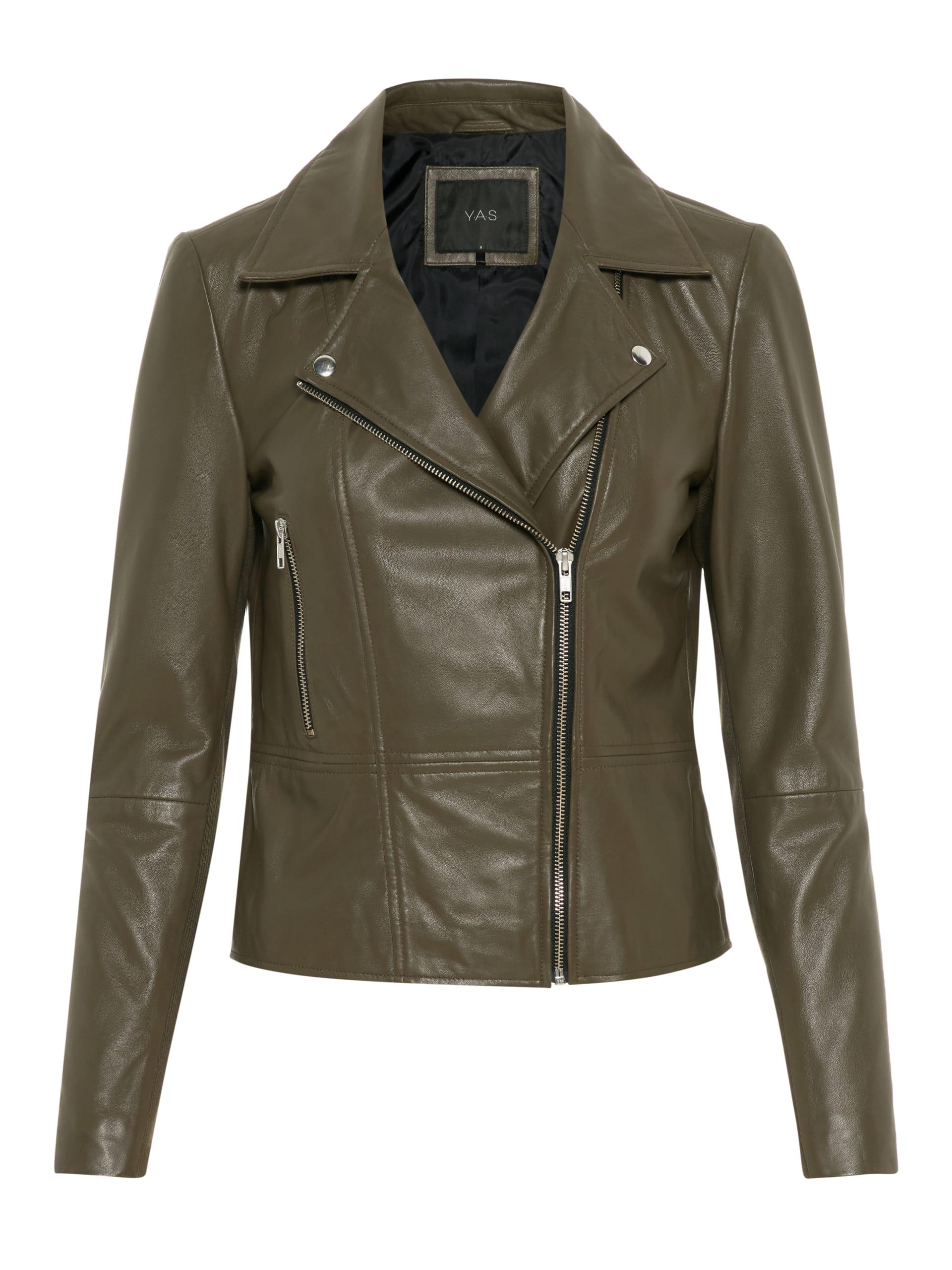 ab9690be Grønn skinnjakke dame, skinnjakke fra YAS, biker skinnjakke, kort jakke.