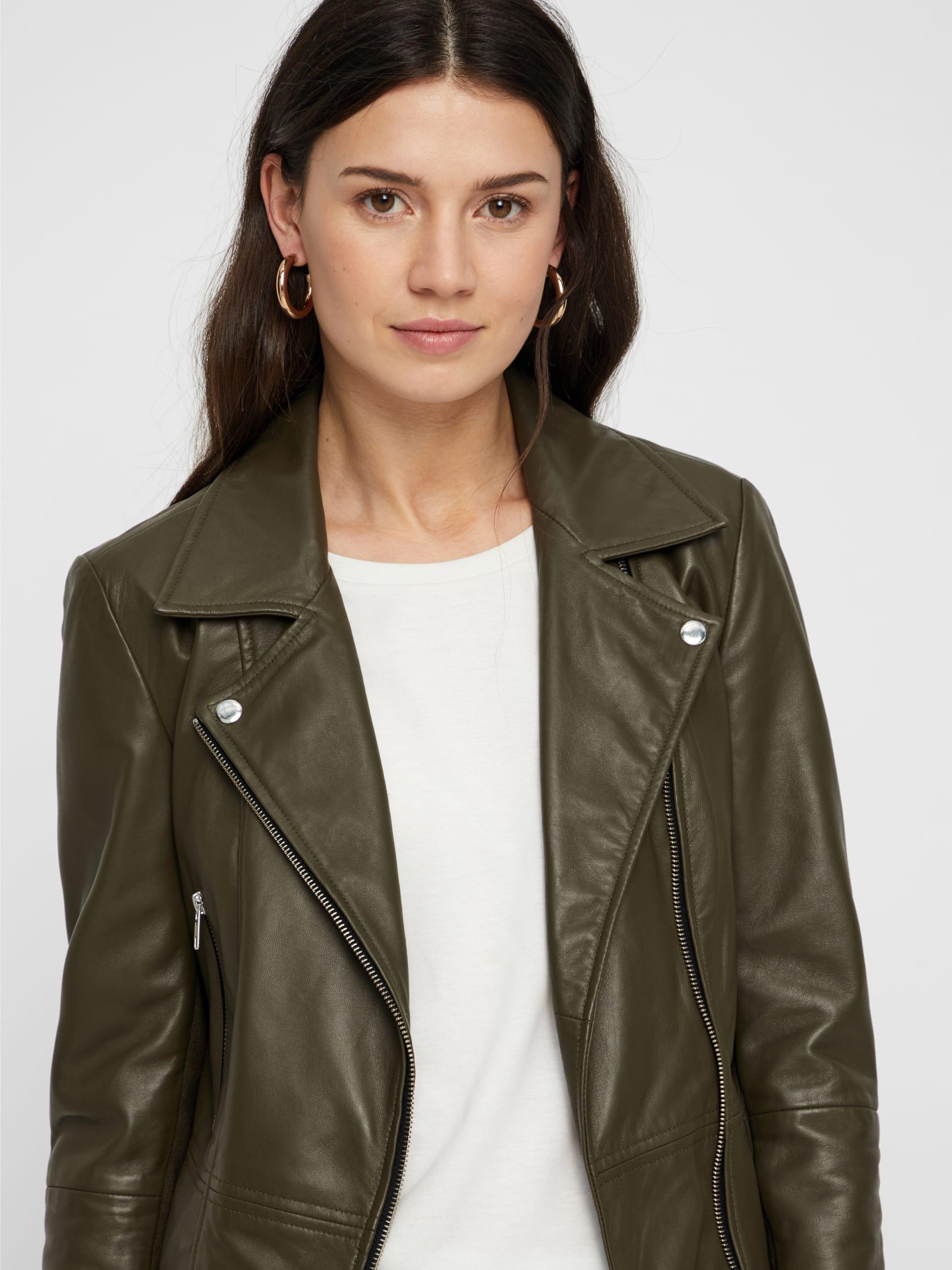 7b8e99d5 Grønn skinnjakke dame, skinnjakke fra YAS, biker skinnjakke, kort jakke.