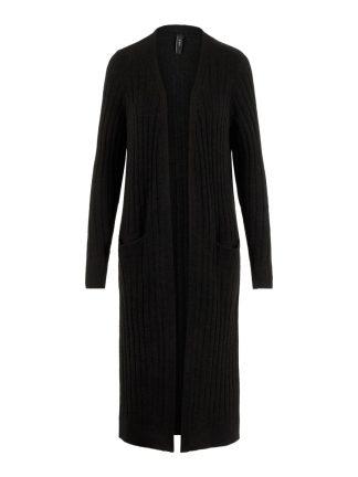 Lang svart strikkejakke