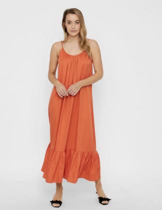Oransje lang kjole