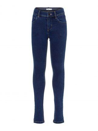 Smal bukse til barn, blå denimbukse til jente.