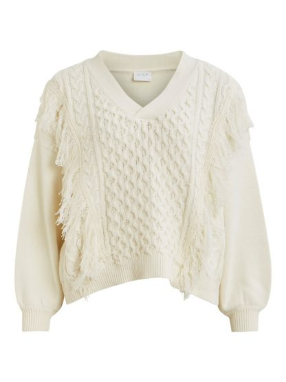 off white genser med frynser Vikajun MioTrend