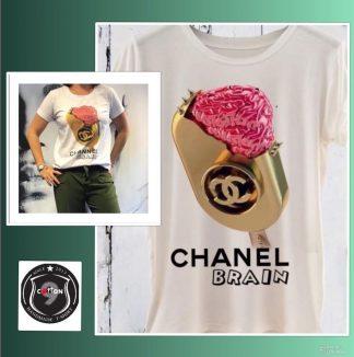 Hvit Chanel t-skjorte