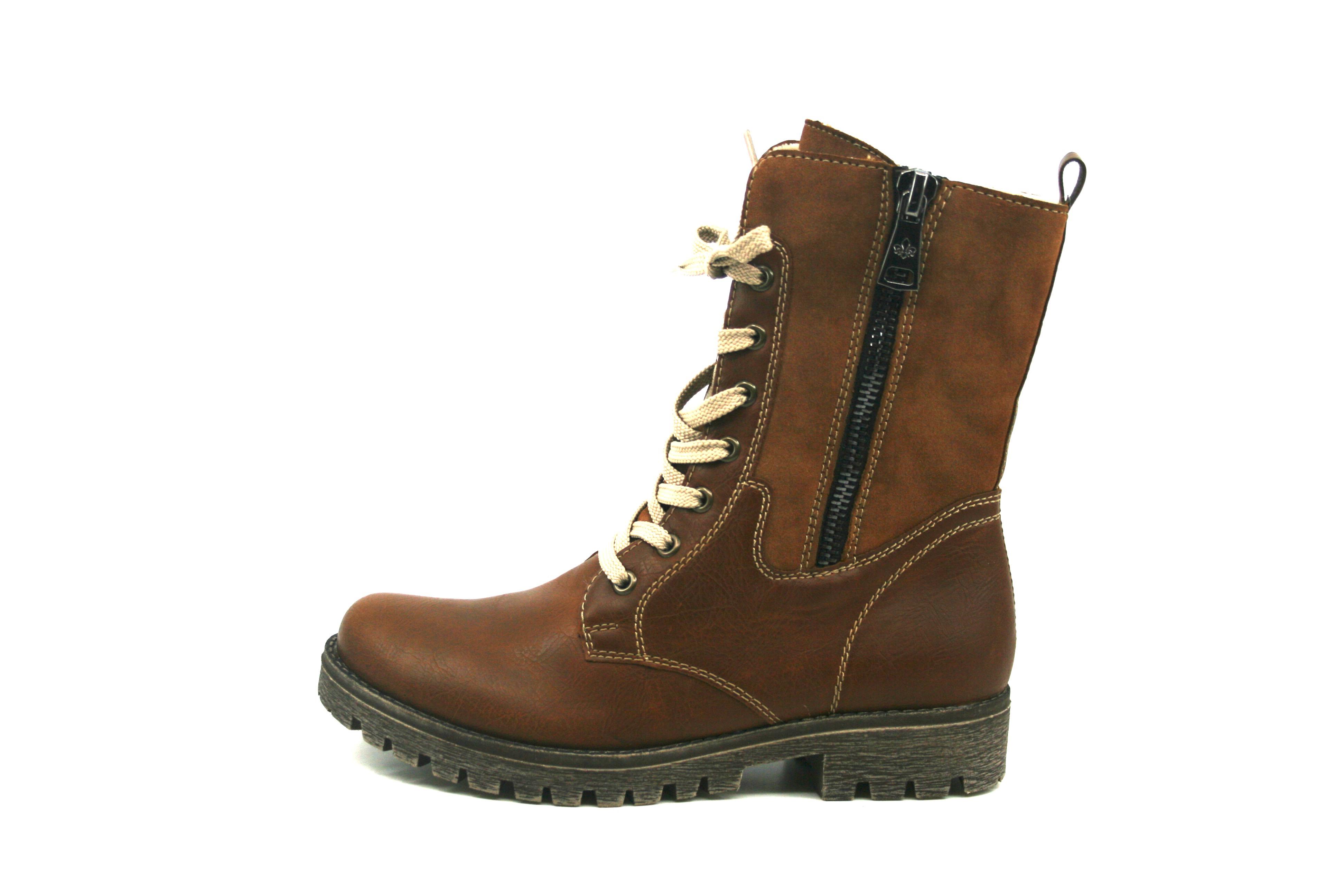 brun høy snørestøvlett med vinterfòr MioTrend