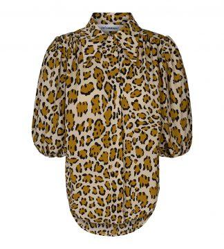 Bluse med puffarmer, Animal print