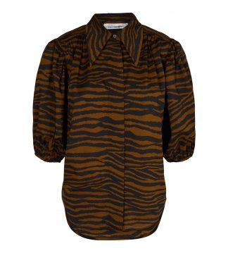 Tiger bluse, sort og brun bluse med puffarmer.