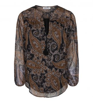 Sort bluse paisley