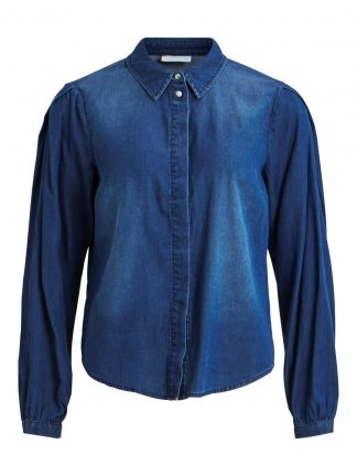 Denimskjorte puffermer