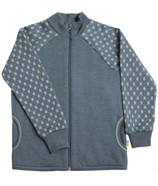 Joha ulljakke, blå jakke med snøkrystaller.
