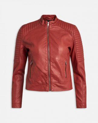 Rød skinnjakke, jakke i imitert skinn Sisters Point
