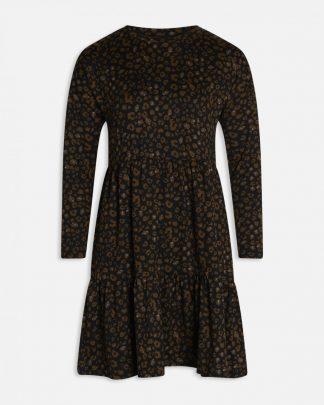 Kjole Sisters Point, sort med brunt dyremønster