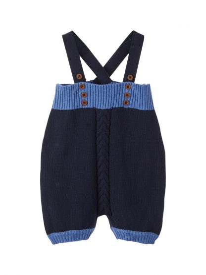 Romper til baby gutt – Sparkebukse/overall marineblå strikket romper Omindo – Mio Trend