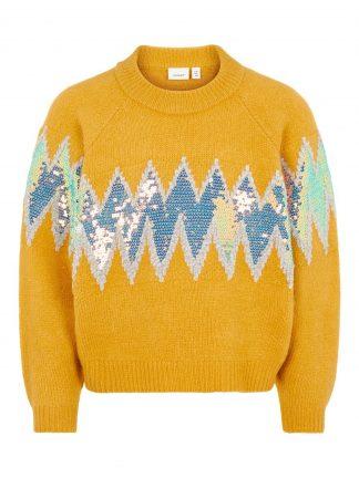 Gul genser jente, genser fra Name It.