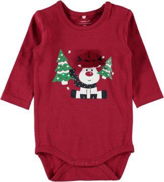 Rød julebody baby, fra Name It.