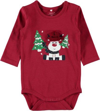 Rød julebody baby, fra Name It. – Name It rød julebody baby – Mio Trend