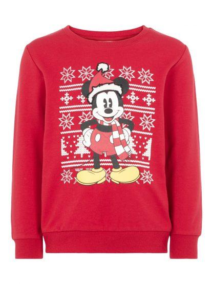 Genser julemotiv barn, rød genser fra Name It. – Name It rød julegenser med Mikke Mus – Mio Trend