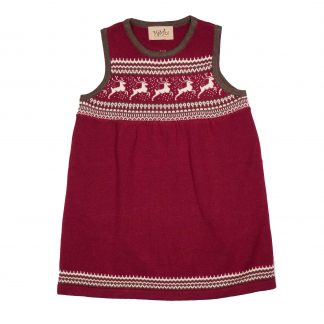 Memini julekjole, rød strikkekjole.