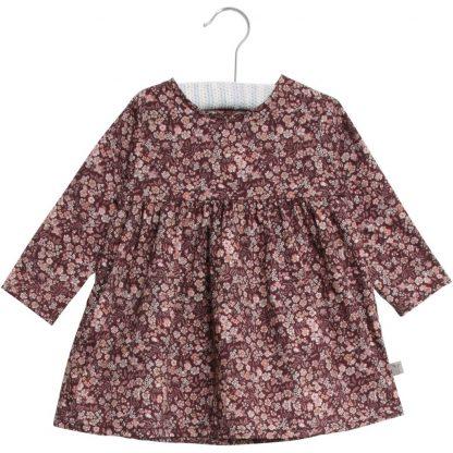 Wheat kjole barn, burgunder med blomster. – Wheat burgunder kjole med blomster Elvira – Mio Trend