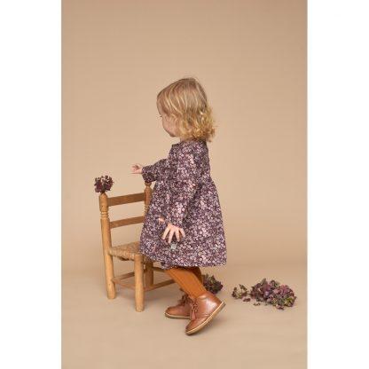 Wheat kjole barn, burgunder med blomster.